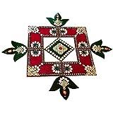 Rangoli - Unique Arts Designer Wooden Rangoli Swastik And Diya Combination