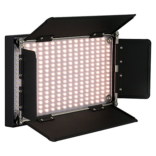 Fotodiox Pro LED-508AS, Professional 508 LED Dimmable, Dual Color Photo/Video Light Kit with included Barndoors, Bi-Color Control, Removable Diffusi
