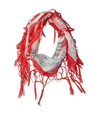 Desigual Women's Patterned Scarf, White/Coral/Grey