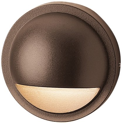 Kichler Lighting 15764AZT LED Half Moon Low Voltage Deck and Patio Light, Textured Architectural Bronze with Satin-Etched Lens