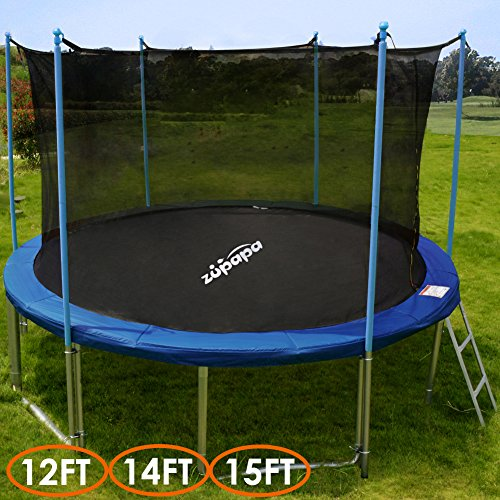 TV-Approved-Zupapa-15FT-14FT-12FT-Trampoline-with-Ladder-Pole-and-Enclosure-net-Safety-Pad-Jumping-Mat-Cover-Spring-Pull-T-hook-Include-all-accessories-you-need-12-feet