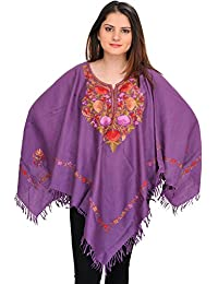 Exotic India Patrician-Purple Poncho From Kashmir With Ari-Embroidery B - Purple