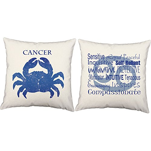 Set of 2 RoomCraft Cancer Throw Pillow Covers - 16x16 White Zodiac Sign Shams