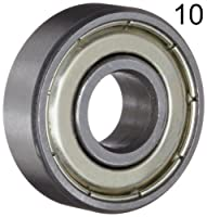 Ten (10) 608ZZ 8x22x7 Shielded Greased Miniature Ball Bearings by BC Precision