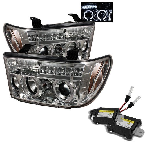 Carpart4U 6000K Xenon Hid Performance Headlights Package For Toyota Tundra / Toyota Sequoia Halo Led ( Replaceable Leds ) Chrome Projector Headlights