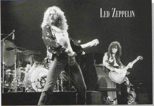 Led Zeppelin Poster Concert Shot Black And White Early 1970S