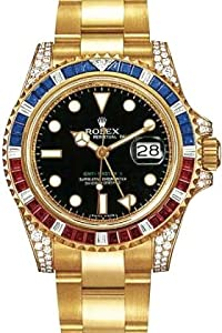 Rolex GMT Master II Yellow Gold Watch, Ruby/Sapphire/Diamond Bezel, Black Dial