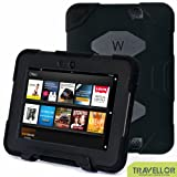 "Kindle Fire HD 7"" Cover Case New Hot Item High Quality Slim Fit Silicone Plastic Dual Protective Back Cover Standing Case Kid Proof Case for Amazon Kindle Fire HD 7 Inch(will Only Fit Kindle Fire HD 7"")-multiple Color Options (Black)"