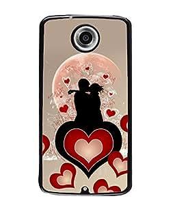 Fuson Heart Love Couple Pattern Back Case Cover for MOTOROLA GOOGLE NEXUS 6 - D3991