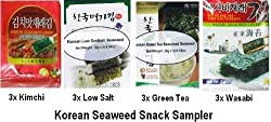 Korean Seaweed (4x3 Packets) - Kimchi, Wasabi, Low Salt and Green Tea Seaweed Laver - Super Korean Snack