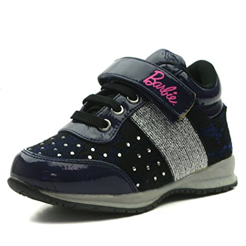 BA103 Barbie Shoes Girls Sporty Shoe with Velcro Strap in Silver Grey with Piallette Trim Taglia 24