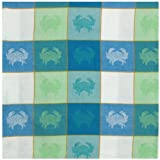 Durable Woven Jacquard 100% Cotton Block Crabs Tablecloth 60x60 Inches