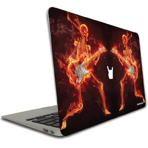 MacBook Air (11 Inch) Vinyl, Removable Skin - Flaming Skeleton Playing Guitar (Macbook Air Removable Skin compare prices)
