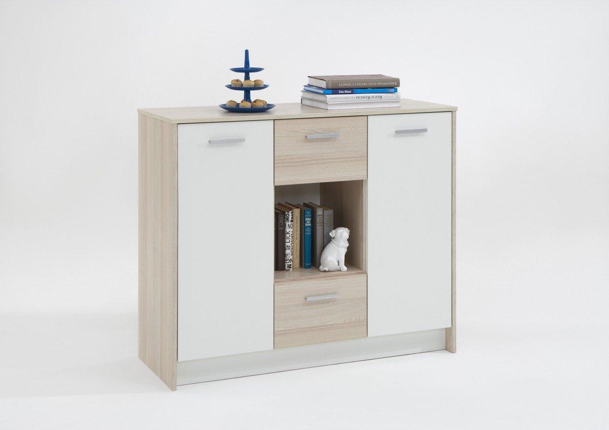 Dreams4Home Kommode 'Leonie IV' Esche/Weiß 105×91,0x39,5 cm, Schrank, Sideboard, Anrichte,Nachtkonsole, Kinderzimmer günstig online kaufen
