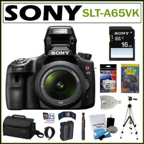 Sony Alpha SLT-A65VK 24.3MP Digital SLR Camera with 18-55mm Lens + Sony 16GB SDHC + Mini HDMI Cable + Replacement NP-FM500H Battery + Card Reader + Accessory Kit