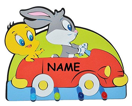 3-D-Kindergarderobe-Looney-Tunes-Tweety-Bugs-Bunny-Auto-incl-Namen-mit-4-Kleiderhaken-Moosgummi-Garderobenhaken-Wandhaken-Kinder-Garderobe-Kind-Wandgarderobe-Haken-Kinderzimmer