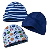 Newborn Boys' Gerber Blue Assorted 3pk Cap Set 0-6 Months