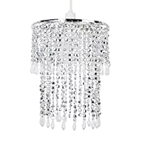 Elegant Modern Sparkling Chrome Acrylic Crystal Jewel Bead Effect Ceiling Pendant Light Shade