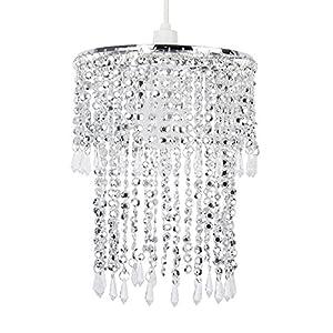 Elegant Modern Sparkling Chrome Acrylic Crystal Jewel Bead Effect Ceiling Pendant Light Shade