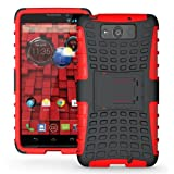 JKase DIABLO Series Tough Rugged Dual Layer Protection Case Cover with Build in Stand for Motorola Droid Ultra (Late 2013) XT1080 / Droid Maxx XT1080M - Retail Packaging (Red)