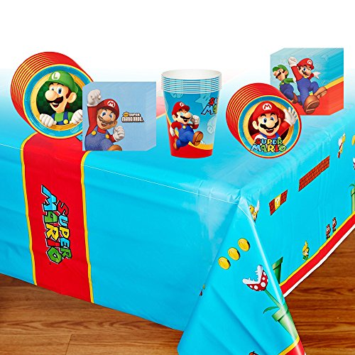 Super Mario Deluxe Party Supplies Pack Including Plates, Cups, Napkins and Tablecover - 8 Guests