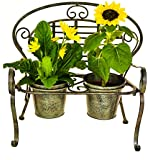 east2eden 2 Pot Folding Rustic Green Metal Garden Pot Bench Planter