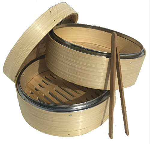 NEW! AMAZINGLY DURABLE Bamboo Steamer/Lightweight Food Steamer/Steamer Basket Bamboo Fits Perfectly on Standard Size Pots/Excellent Asian Food Steamer/Free Tong Included (Bamboo Steamer Small compare prices)