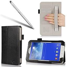 i-BLASON Samsung Galaxy tab 3 Lite 7.0 Case - Leather Book (Elastic Hand Strap, Multi-Angle, Card Holder) for SM-T110/115 With Bonus Stylus 3 Year Warranty (Black)