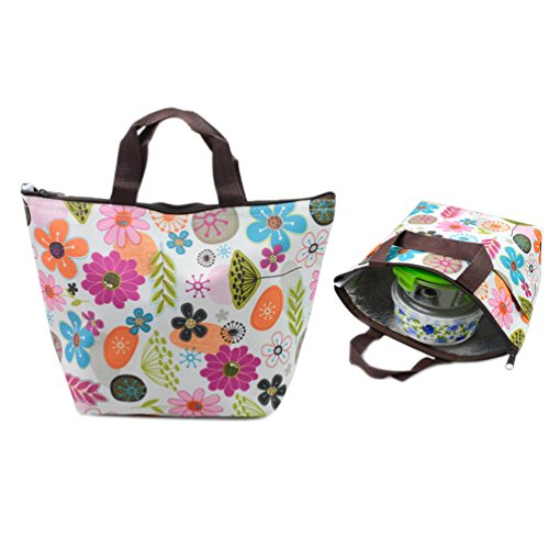 Outop Waterproof Picnic Lunch Bag Tote Insulated Cooler Travel Zipper Organizer Box,flower