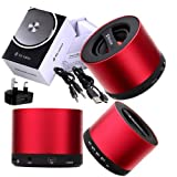 Wayzon Brand New Red My Vision V9 Wireless 3W Portable Mini Bluetooth 3.0 Aluminium HD Audio Speaker With S D Card Reader Slot And Integrated Mic + UK Mains Plug Charger Adaptor in BONUS For Sony Xperia E1 / Xperia M2 / T2 Ultra dual / Z1 Compact / Z1s /