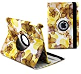 Ruban Fabulous A style flower 360 degree rotating case for iPad4, ipad 3, ipad2, Multi-Function PU Leather Stand Case / Cover, With super Auto Sleep Wake Function (FOR IPAD4/3/2, #Flower-Yellow)