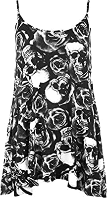 WearAll Women's New Strappy Skull Rose Print Camisole Vest Top