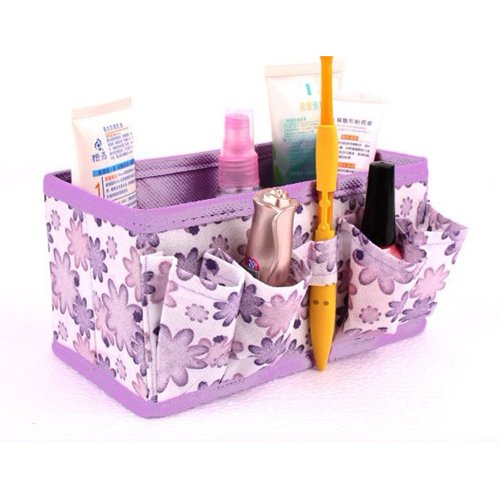 Multifunction Foldable Daisy Pattern Makeup Cosmetics Storage Box Desktop Organizer(Light Purple) front-688087