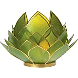 Luna Bazaar Full Bloom Capiz Lotus Candle Holder (4.5-Inch, Grass Green, Gold-Edged)