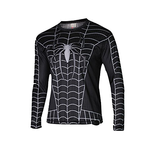 Afoxsos Men's Long Sleeves Super Hero Marvel Heroes Spider Man T-Shirt Size M 3 (T Shirt Spiderman)