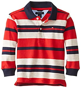 Tommy Hilfiger Baby-Boys Infant Leroy Yarn Dye Long Sleeve Pique Polo, Red, 24 Months