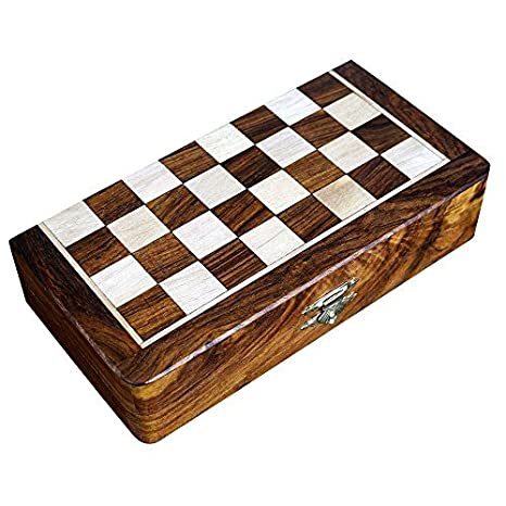Deux en un jeu de société en bois pour adultes Echecs Backgammon 8 x 8 pouces