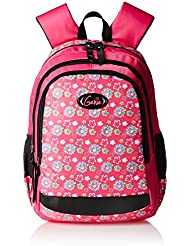 Genius Genie Polyester 43 Cms Pink Softsided Children's Backpack (FLOWERS 17 PINK)