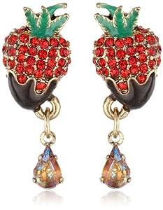 "Betsey Johnson ""Paris is Always a Good Idea"" Chocolate Strawberry Stud Earrings"