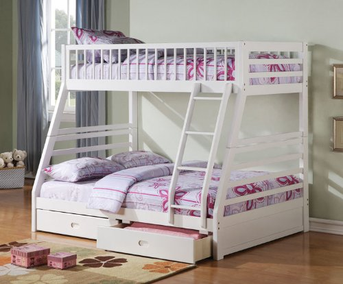 White Bunk Bed Twin Over Full 4914 front