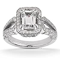 14K White Gold Engagement Ring - 1.45CT Emerald Cut Diamond Ring(H-I Color, I1 Clarity), All Sizes Available