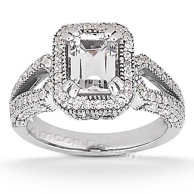 14K White Gold Engagement Ring  1.45CT Emerald Cut Diamond Ring(HI Color, I1 Clarity), All Sizes Available