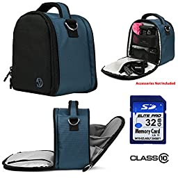 Nylon SLR Bag - Dark Night Blue For Canon EOS Rebel T5i, T5, T3i, T3i, T6s Digital SLR Camera + 32GB Class 10 SD Card