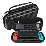 Nintendo Switch Hard Carrying Case by HSWAI,Protective Portable Travel Switch Case Shell Pouch with 10 Game Cartridge Holders for Nintendo Switch Console & Accessories[No bad smells]-BLACK