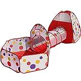 El producto incluye tienda de campaña, el túnel y la bola de piscinaColor: rojo con el lunar coloridoPeso: 1,5 kgTamaño cremallera bolsa de almacenamiento: (19,7 * 25,6 cm)Bola dimensión de la piscina: 47,2 * 40,1 * 30,7 en (L * W * H)Carpa dimens...