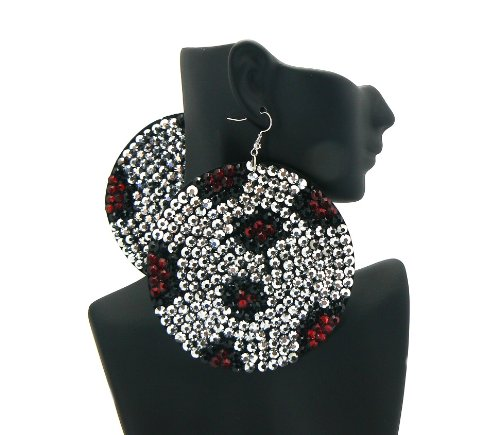 Silver with Red 3.5 Inch Circle Two-Tone Paparazzi Earrings Iced Out Light Weight Basketball Wives