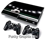 PS3 PlayStation 3 Skin Stickers PVC for Console + 2 Controllers/ Pads Decal Protector Cover Art Leather Effect Football