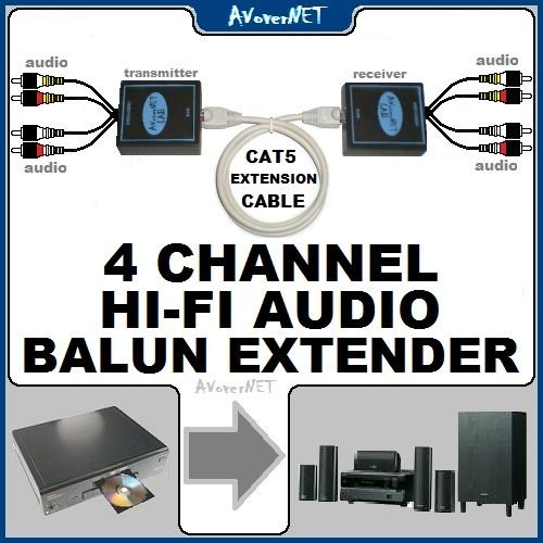4ch HI-FI AUDIO BALUN CAT5/CAT5E/CAT6 Cable EXTENDER