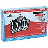 "Brawny Dine-A-Wipe 29408 Blue and White 1/4 Fold Foodservice Busing Towel, 14"" Length x 21"" Width, Pack of 6"