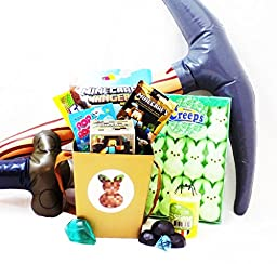 Minecraft Themed Easter Candy and Toy Gift Basket with Green Peep Creeps